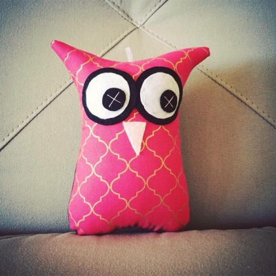 Pink and Gold Moroccan Tile | 18cm Owl