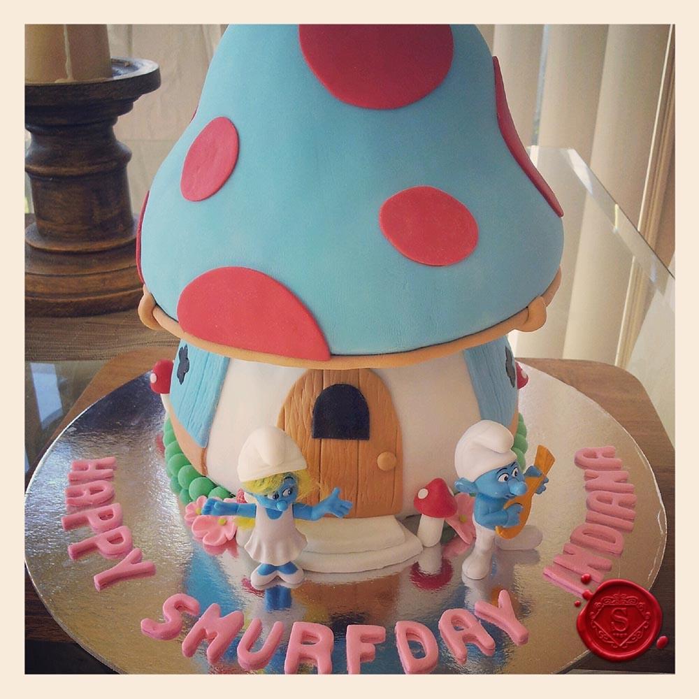 Pleasing Smurfs House Birthday Cake Sweet House Studios Gold Coast Funny Birthday Cards Online Overcheapnameinfo