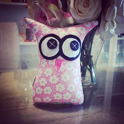 Pink with Flowers | 18cm Owl