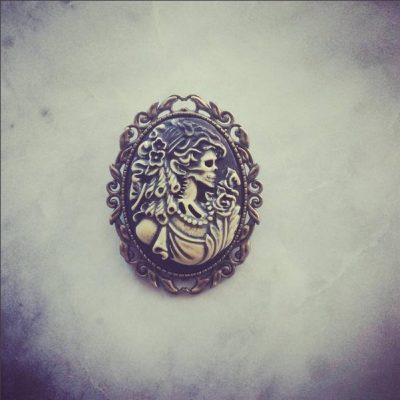 Copper Baroque Skull Brooch