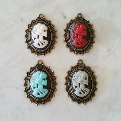 Set of 4 Mini Colourful Skull Pendants