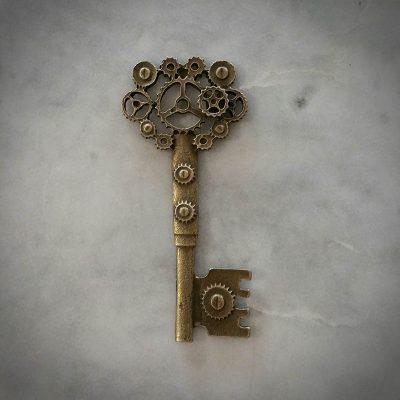 Antique Gold Cogs Key Pendant