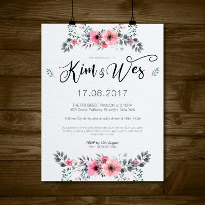 Floral Watercolour Wedding Invite (Digital)