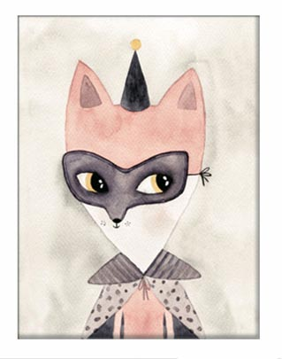 Watercolour Whimsical Fox Print – Girls Boys 40x50cm