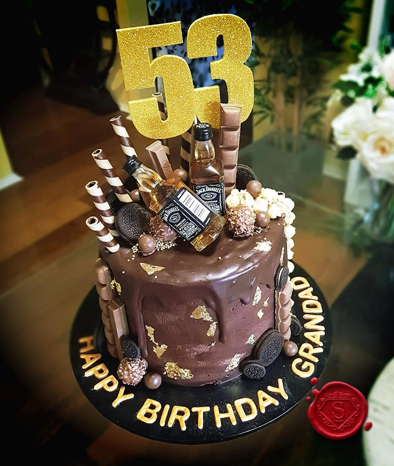 Miraculous Drip Cake With Jack Daniels And Chocolates Sweet House Studios Personalised Birthday Cards Sponlily Jamesorg