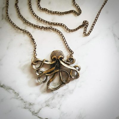 Octopus Gold/Copper Pendant Necklace