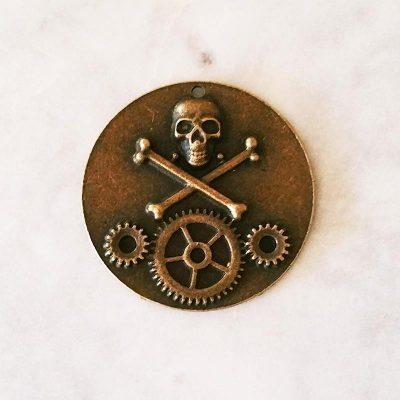 Bronze Skull Cog Pendant