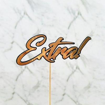 """""""Extra!"""" Gold and Black Cake Topper – Silver – Rose Gold"""