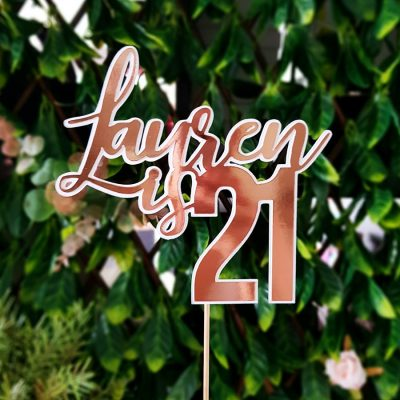 """Name is 21"" Personalised Rose Gold and White Cake Topper – Silver – Gold"