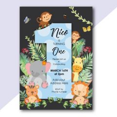 1st Birthday Animal Invitation (Digital)