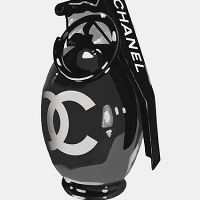 Chanel Black Grenade Print