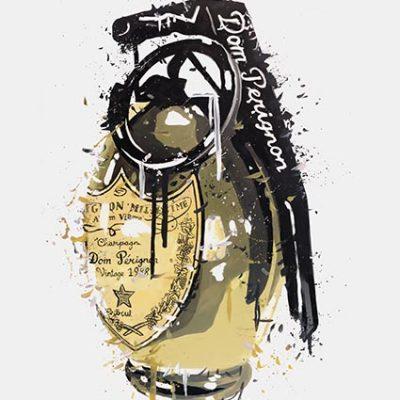 Dom Pérignon Gold Grenade Print